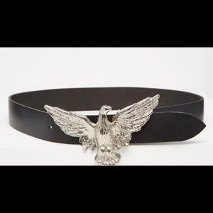 Retro Luxe Leather Western Belt with Eagle Buckle